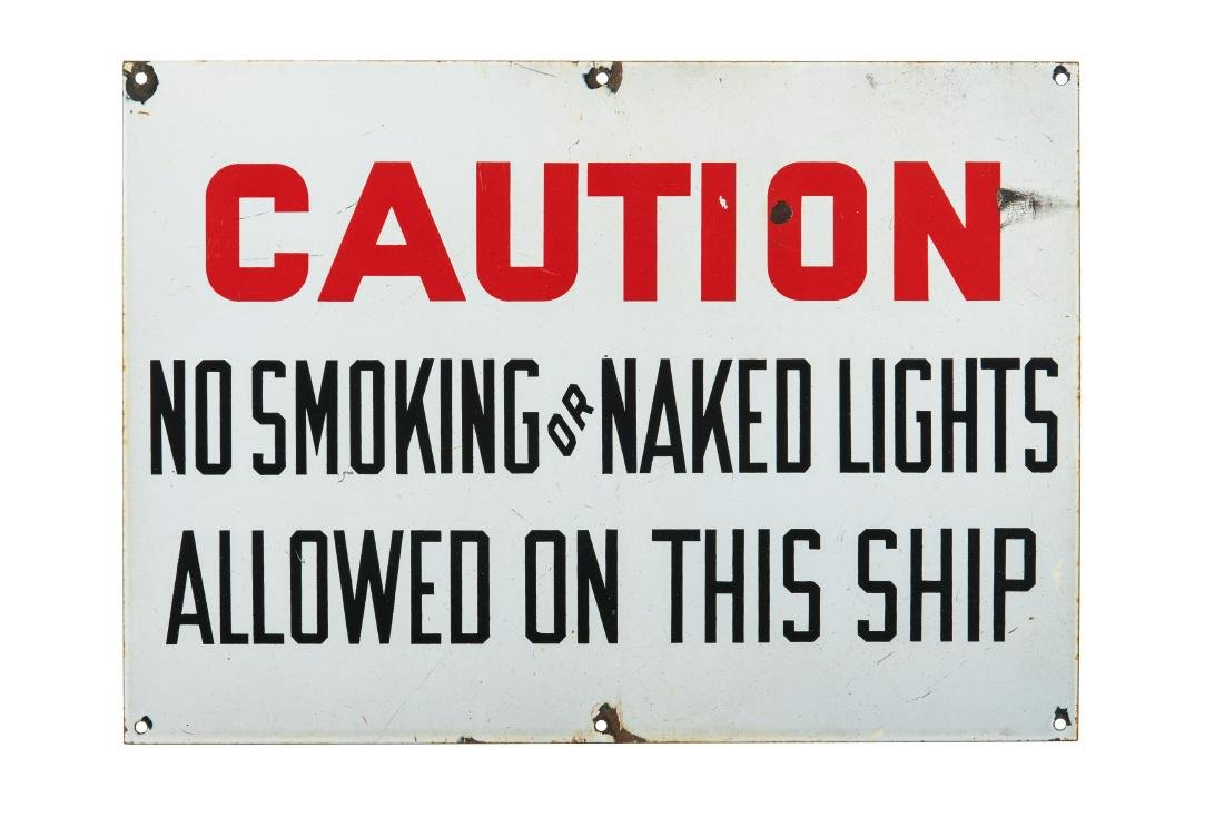 Caution No Smoking Or Naked Lights Porcelain Sign