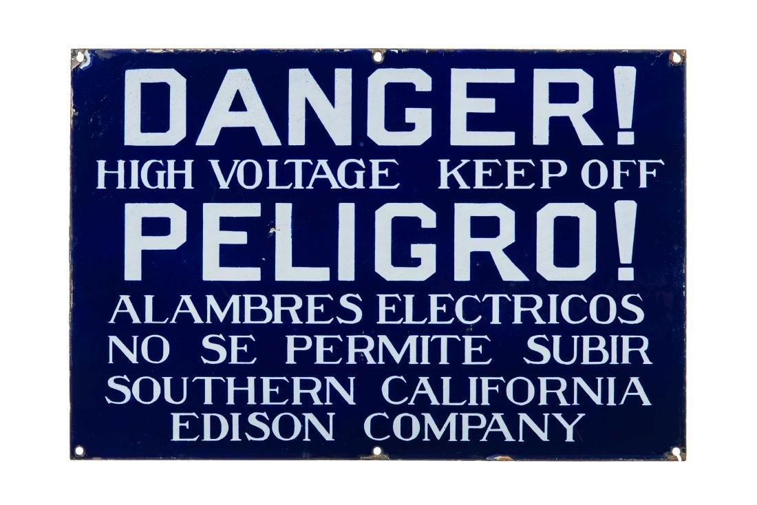 Danger High Voltage Peligo Porcelain Sign