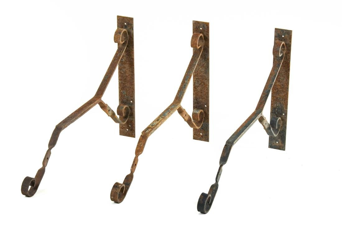 Lot Of 3 Metal Brackets For Mobiloil Hanging Signs