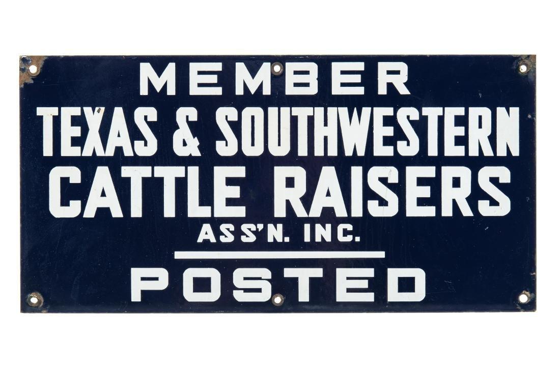 Member Texas Cattle Raisers Porcelain Sign