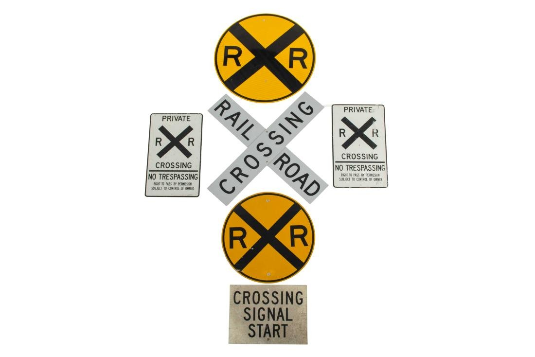 Lot Of 6 Miscellaneous Rail Road Signs