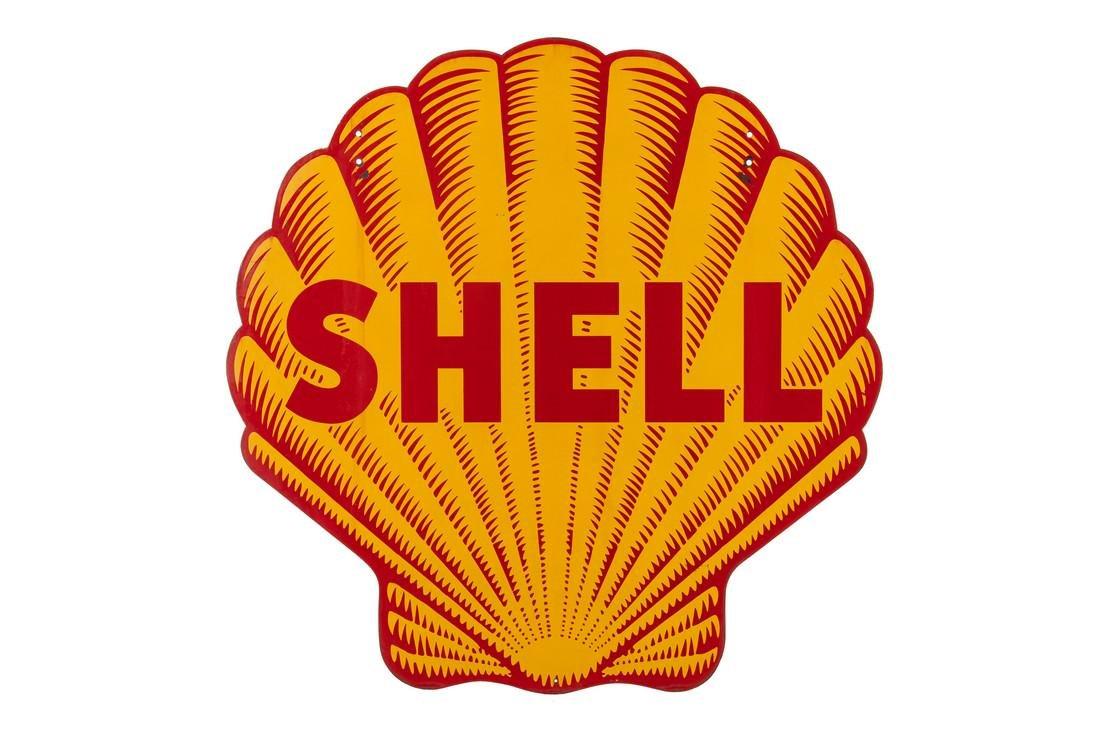 """Shell Oil Pecten Porcelain Sign """"Tiger Striped"""""""
