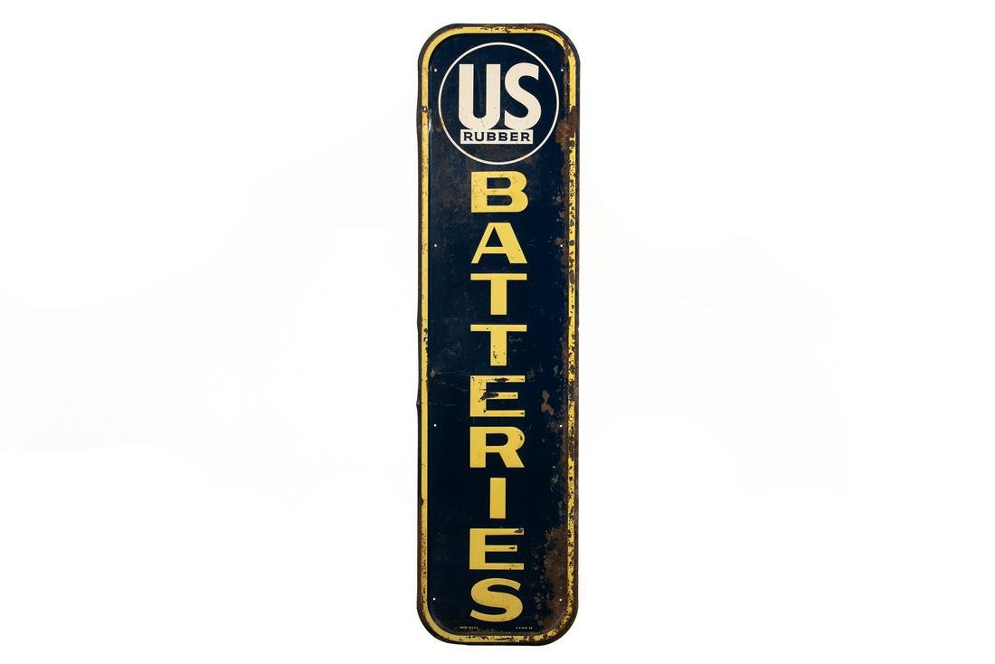 U.S. Rubber Batteries Tin Sign