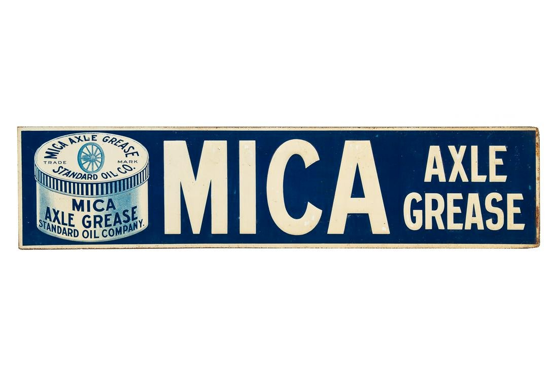 Early Standard Oil Mica Axle Grease Tin Sign