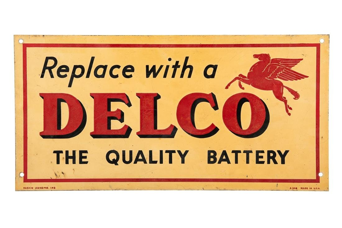 Mobil Oil Delco Battery Tin Sign