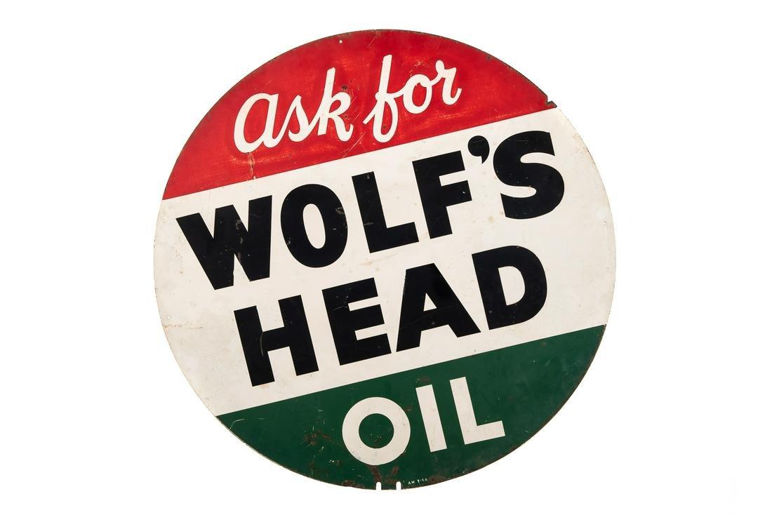 Wolf's Head Motor Oil Tin Sign