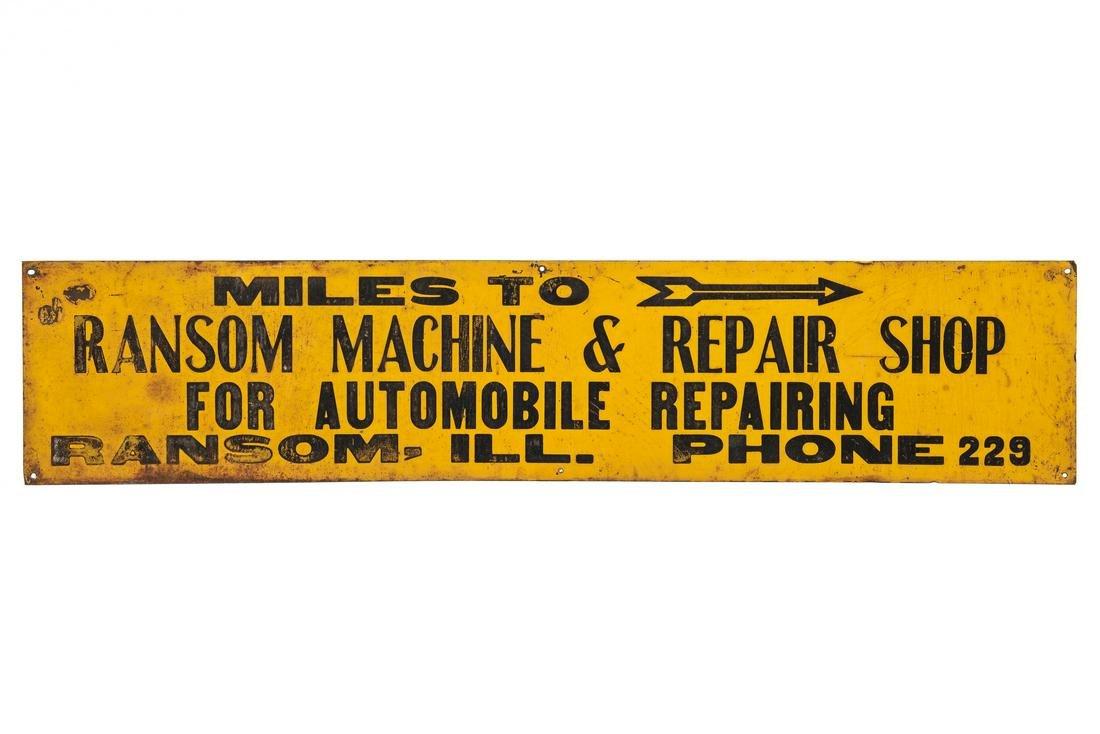 Ransom Machine & Auto Repair Shop Tin Sign