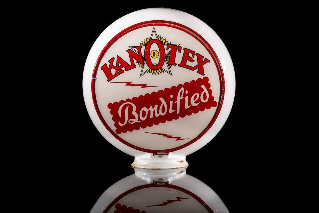 "Kanotex Bondified Gasoline 13.5"" Gas Pump Globe"