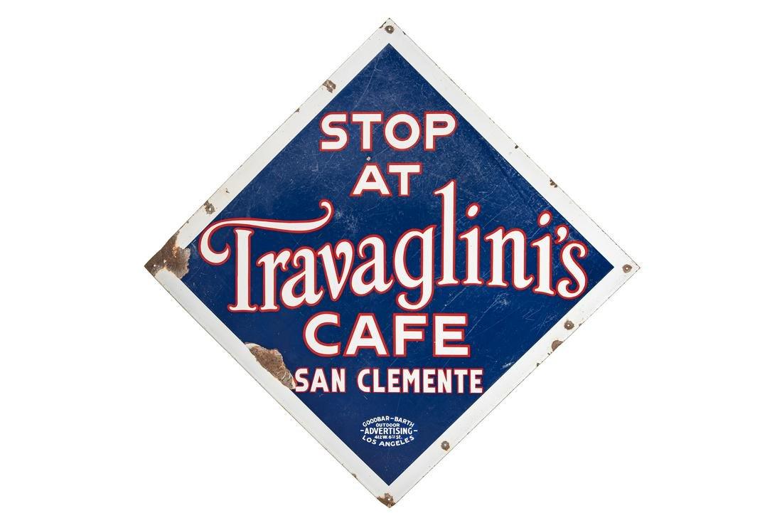 Travaglini's Cafe San Clemente Porcelain Sign