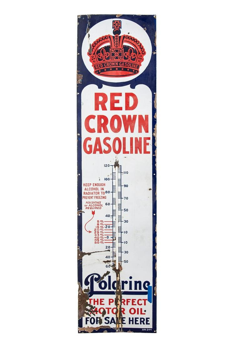 Early Red Crown Gasoline Porcelain Thermometer