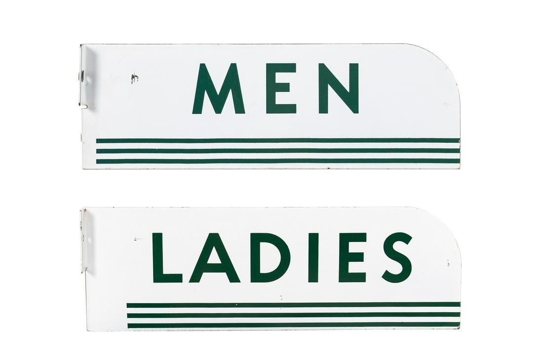 Men & Ladies Restroom Porcelain Flange Signs
