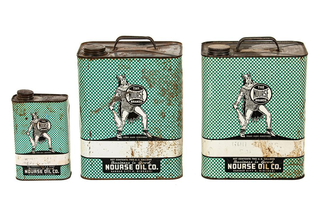 Lot Of 3 Nourse Motor Oil Cans