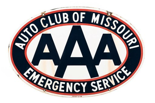 Aaa Auto Club Near Me >> Aaa Auto Club Of Missouri Porcelain Sign