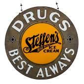 Steffen's Ice Cream Milk Glass Sign