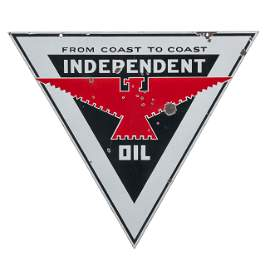 Independent Oil Triangle Hanging Sign