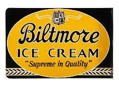 Biltmore Ice Cream Flange Sign NOS