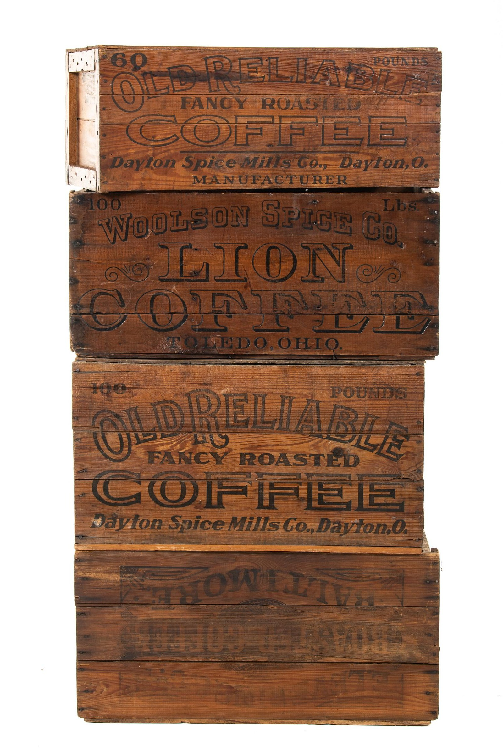 Lot of 4 Coffee Wood Crates