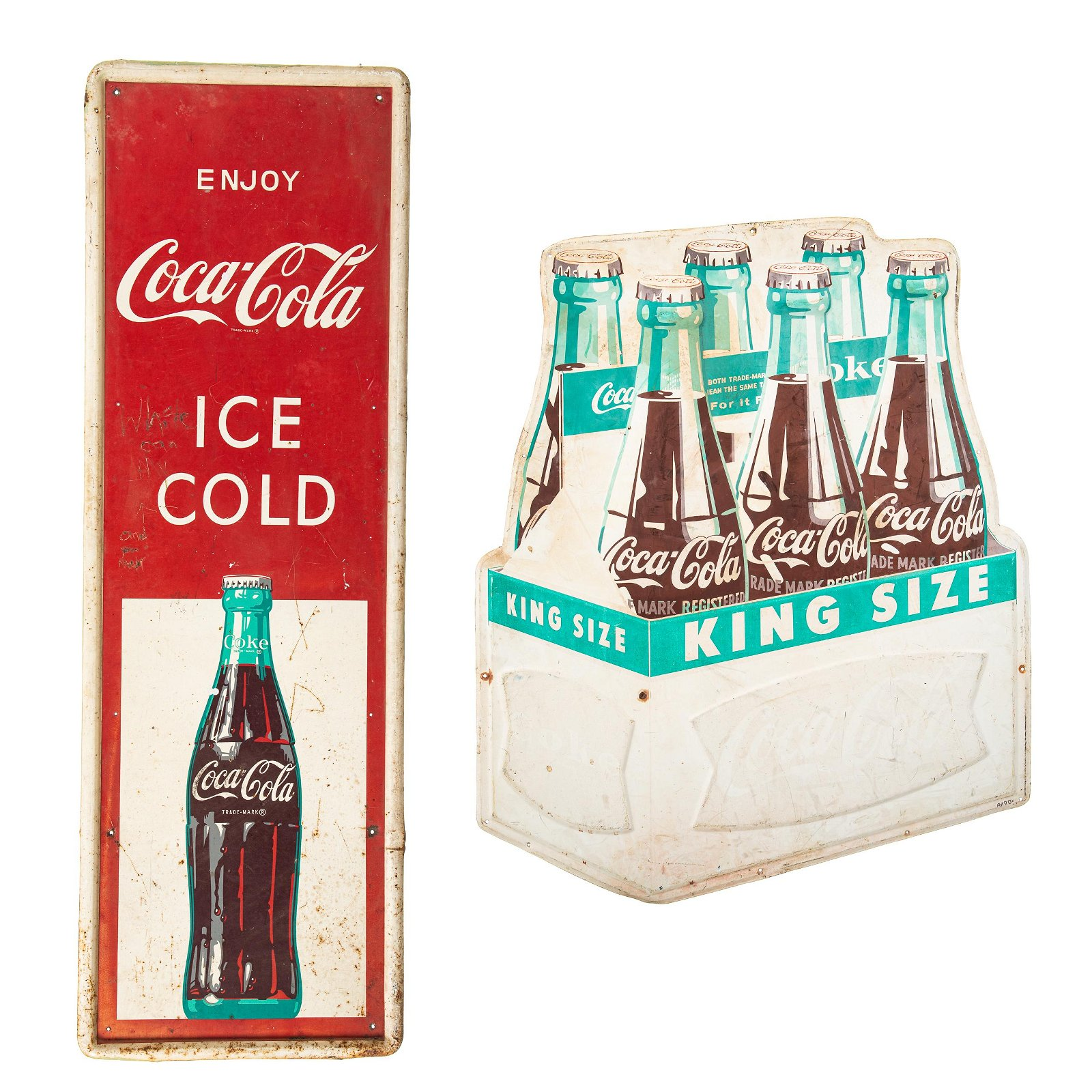 Coca Cola King Size Diecut & Ice Cold Vert. Signs