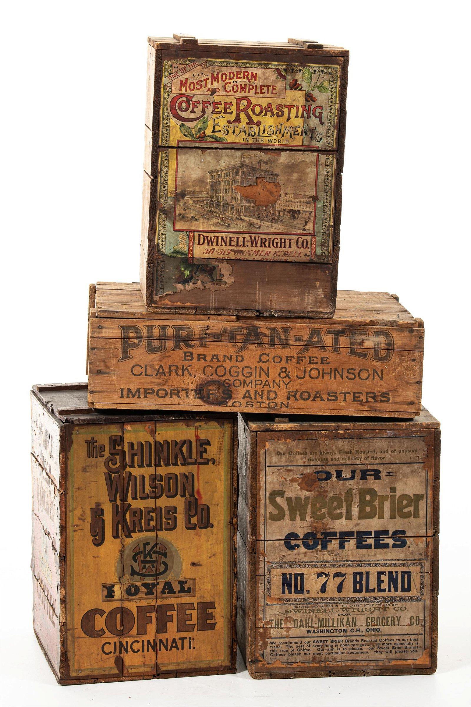 Lot Of 4 Coffee Boxes Royal Puri-Tan-Ated