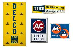 Lot Of 4 AC Delco Spark Plug & Battery Signs