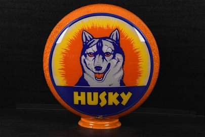 Rare Husky In Orange Ripple Gas Pump Globe