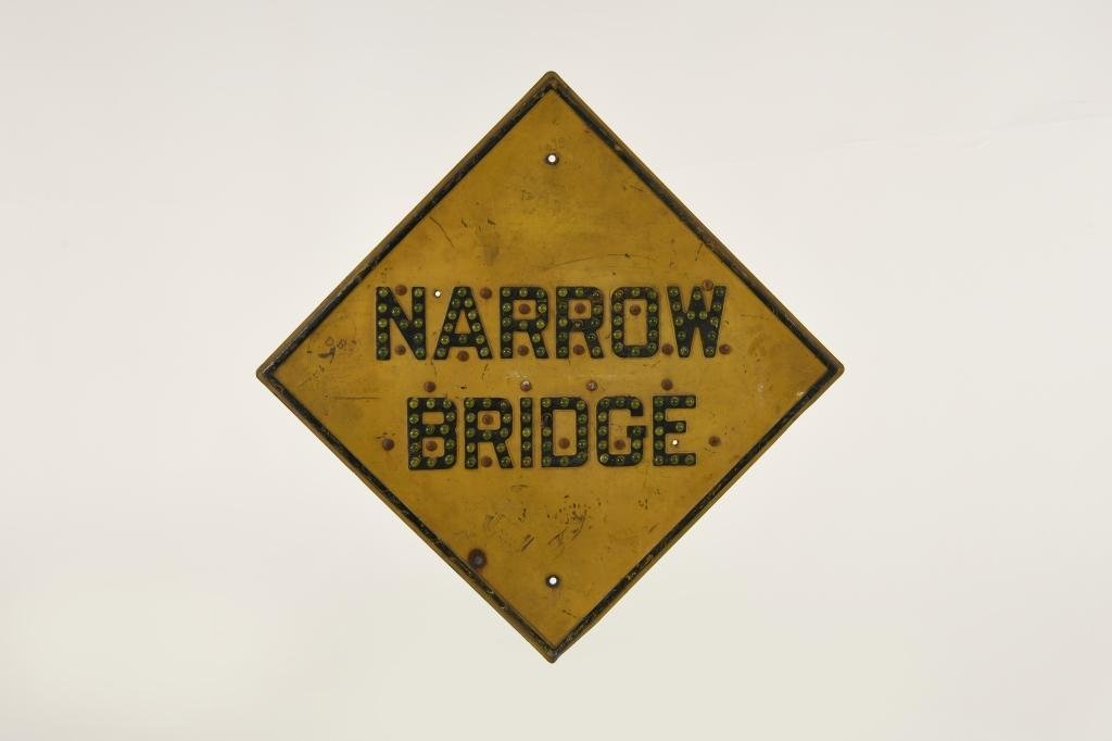 Narrow Bridge Cats Eye Embossed Road sign