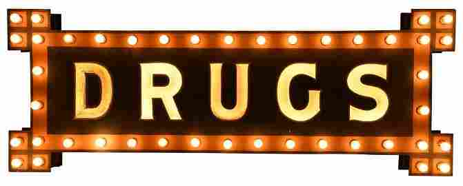 Early Lighted Smaltz Drugs Sign With Milk Glass Letters
