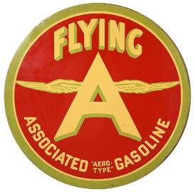 "Flying A Associated ""Aero-Type"" Gasoline Sign"