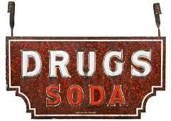Drugs Soda Milk Glass Textured Porcelain Sign