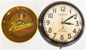 GIBRALTAR ADVERTISING CLOCK AND VERNORS ADVERTISING