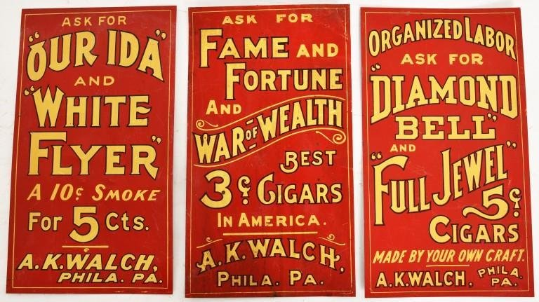 3 COLLECTIBLE SIGNS