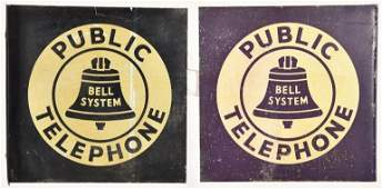 2 PUBLIC TELEPHONE FLANGE SIGNS