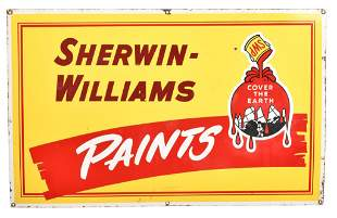 Sherwin-Williams Paints w/logo Porcelain Sign