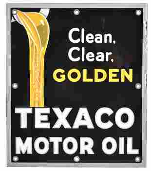 Texaco Motor Oil Clean, Clear, Golden Porcelain Sign