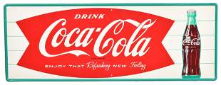 Drink Coca-Cola Fish Tail & Bottle Metal Sign