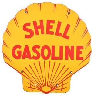 Shell Gasoline w/half lines Porcelain Sign