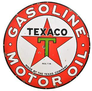 Texaco (black-T) Gasoline Motor Oil Porcelain Sign