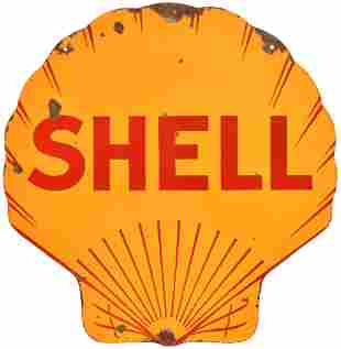 Shell Half-Lines Porcelain Sign