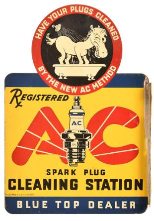 AC Spark Plug Cleaning Station w/logo Metal Sign