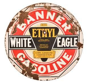 White Eagle Banner Gasoline w/Ethyl Porcelain Sign