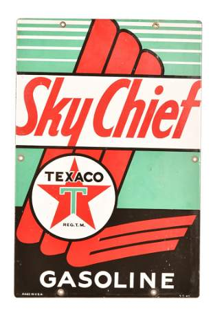 Texaco (white-T) Sky Chief Gasoline Porcelain Sign