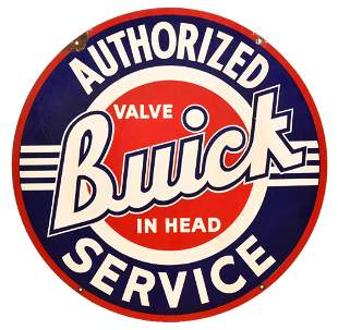 Buick Valve in Head Authorized Service Porcelain Sign