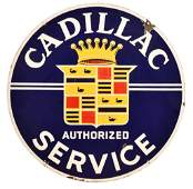 Cadillac Authorized Service w/Crest Logo Porcelain Sign