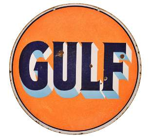 Gulf (blue shaded letters) Porcelain Sign
