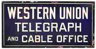 Western Union Telegraph and Cable Office Porcelain Sign