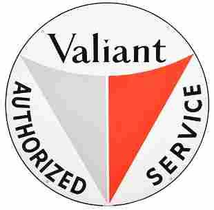 Valiant Authorized Service Porcelain Sign