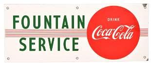 Drink Coca-Cola Fountain Service Porcelain Sign