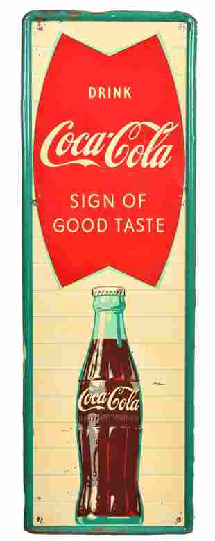 Drink Coca-Cola Fish Tail Logo w/bottle Metal Sign