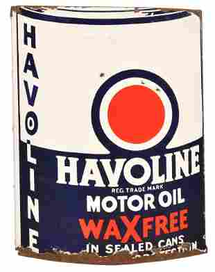 Havoline Motor Oil Wax Free Porcelain Sign
