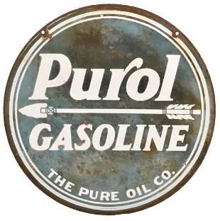 Purol Gasoline w/arrow Porcelain Sign